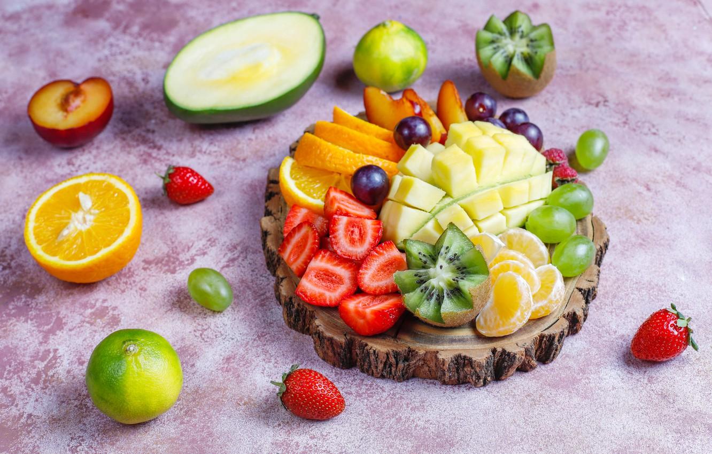 Photo wallpaper berries, orange, kiwi, strawberry, grapes, fruit, mango, Mandarin, cuts