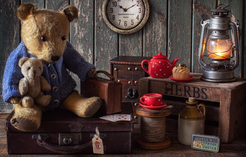 Photo wallpaper card, style, toys, watch, lamp, kettle, bear, mug, Cup, bear, suitcase, cake, box, cupcake, bottle, …