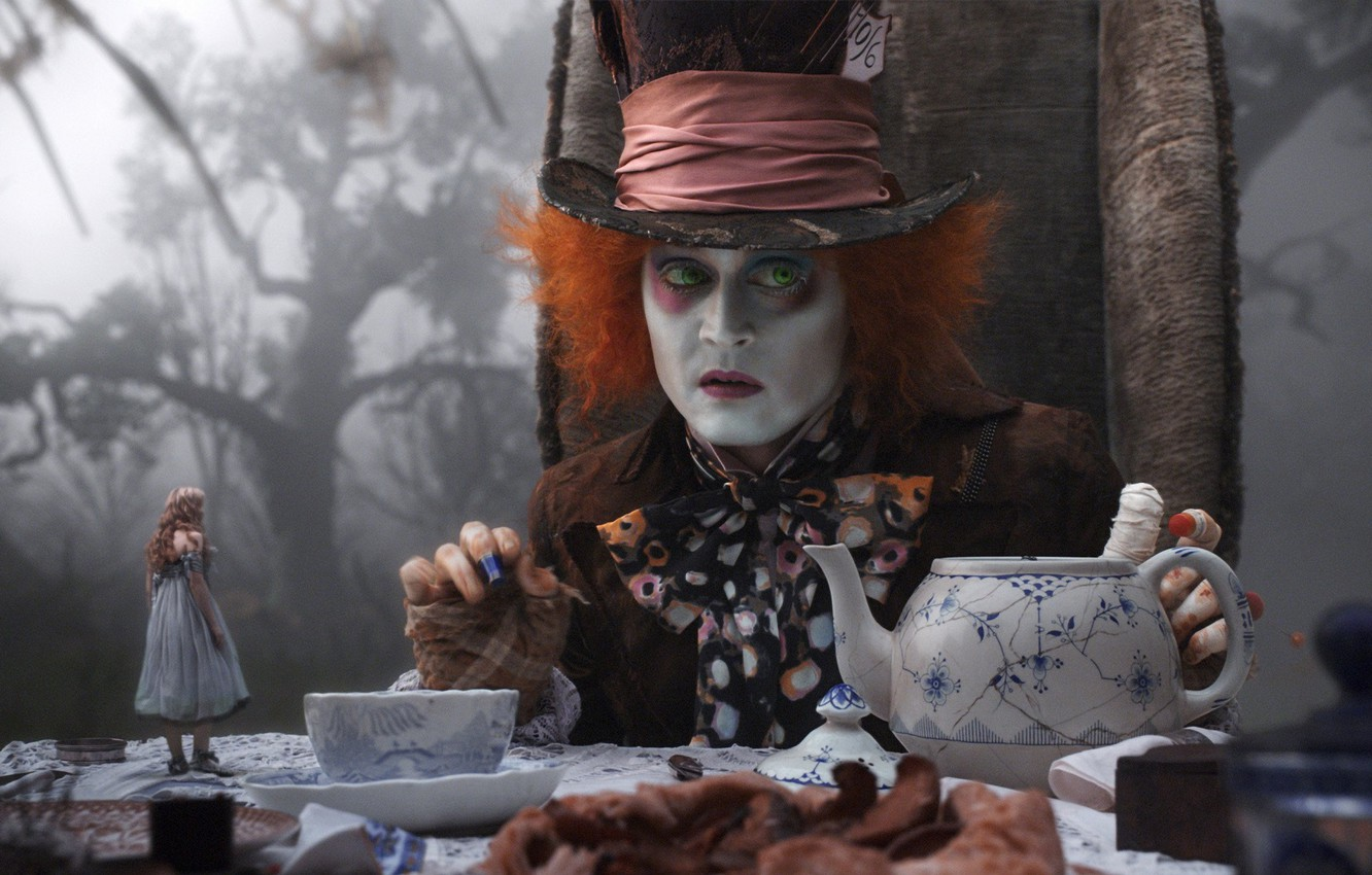 Photo wallpaper Johnny Depp, the tea party, Alice in Wonderland, Mad Hatter, Johnny Depp, mad Hatter, fog …