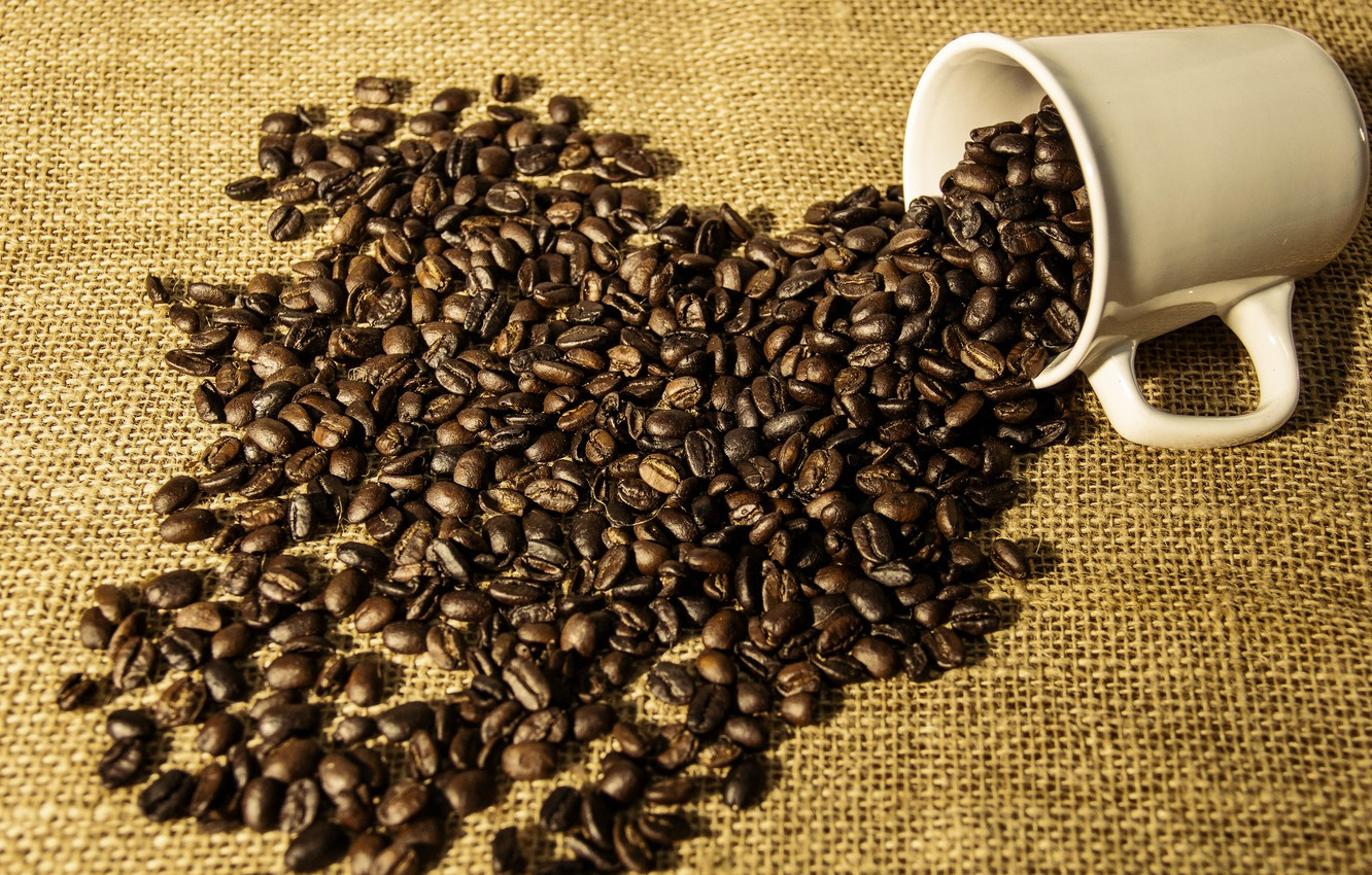 Photo wallpaper coffee, Cup, coffee beans