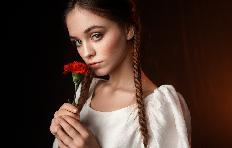 Photo wallpaper flower, look, Girl, pigtail