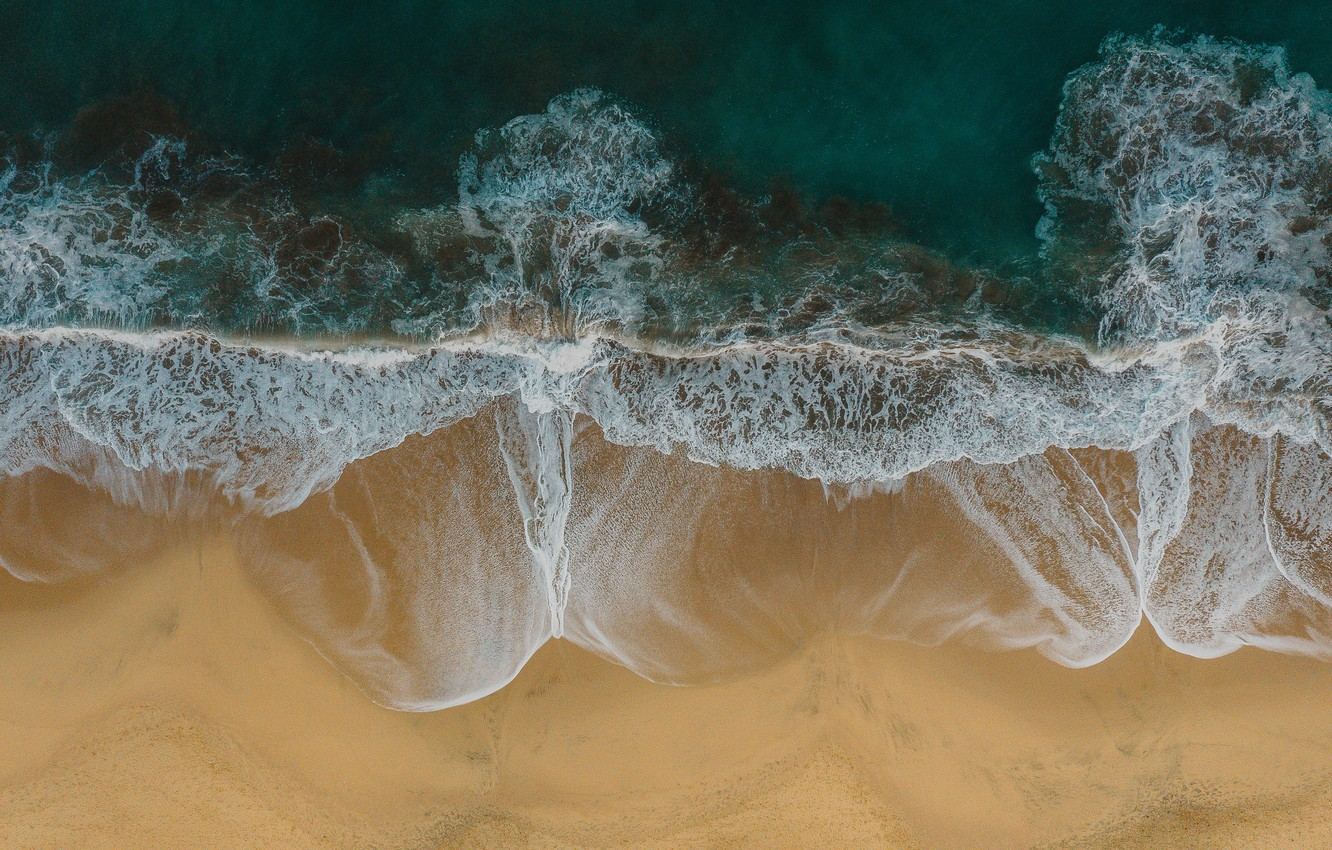 Photo wallpaper sand, sea, wave, beach, summer, nature, coast, the view from the top
