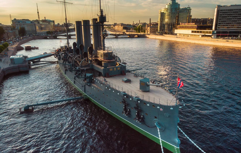 Photo wallpaper the city, river, Peter, Saint Petersburg, monument, Aurora, cruiser, Neva, Yuri Stolypin