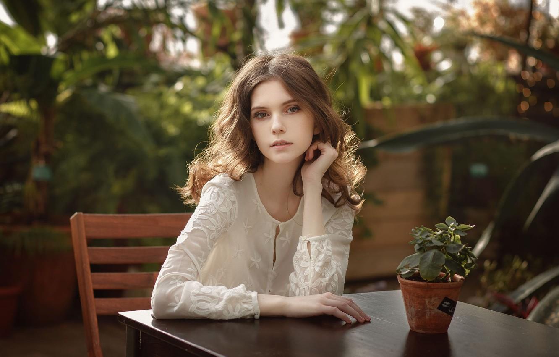 Photo wallpaper girl, blouse, brown hair, brown eyes, photo, photographer, model, chair, lips, brunette, plant, table, sitting, …