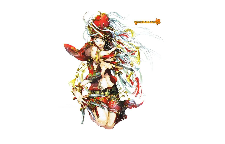 Photo wallpaper girl, knives, by panelletdelimon