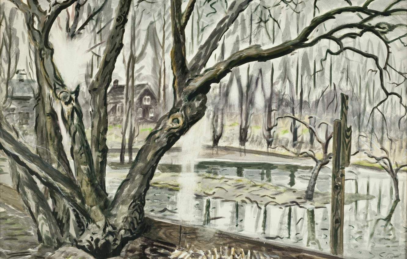 Photo wallpaper 1947, Charles Ephraim Burchfield, Spring Landscape With Trees and Pond