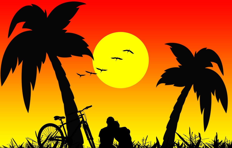 Photo wallpaper palm trees, romance, two, silhouettes