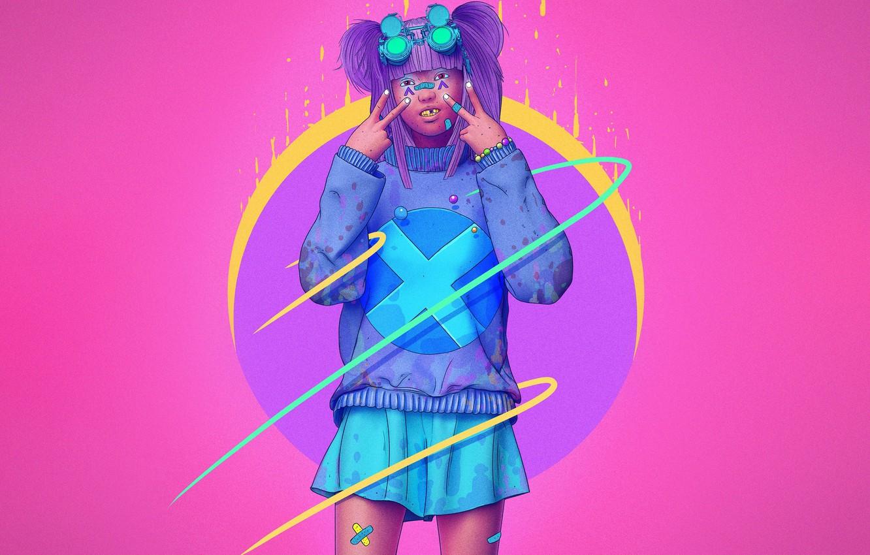 Photo wallpaper Color, Girl, Glasses, Style, Asian, Fantasy, Style, Color, Fiction, Punk, Fiction, Illustration, Sci-Fi, Cyberpunk, Science …