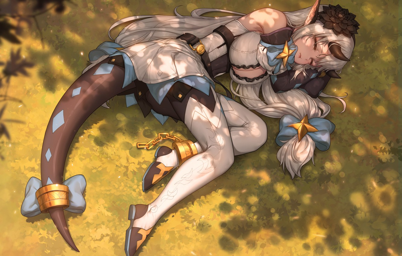 Photo wallpaper Girl, Chest, The game, Sleeping, Girl, Feet, Lies, Horns, Legs, Art, Art, Breast, The sun's …