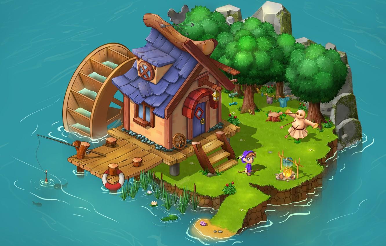 Photo wallpaper fantasy, the game, art, island, children's, Game location, Elisabeth Aksenova