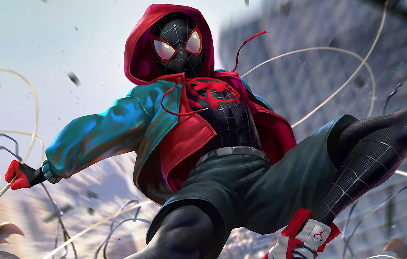 Photo wallpaper costume, AIR, spider-man, spider man, teen, Miles Morales, Miles Morales, into the spider verse
