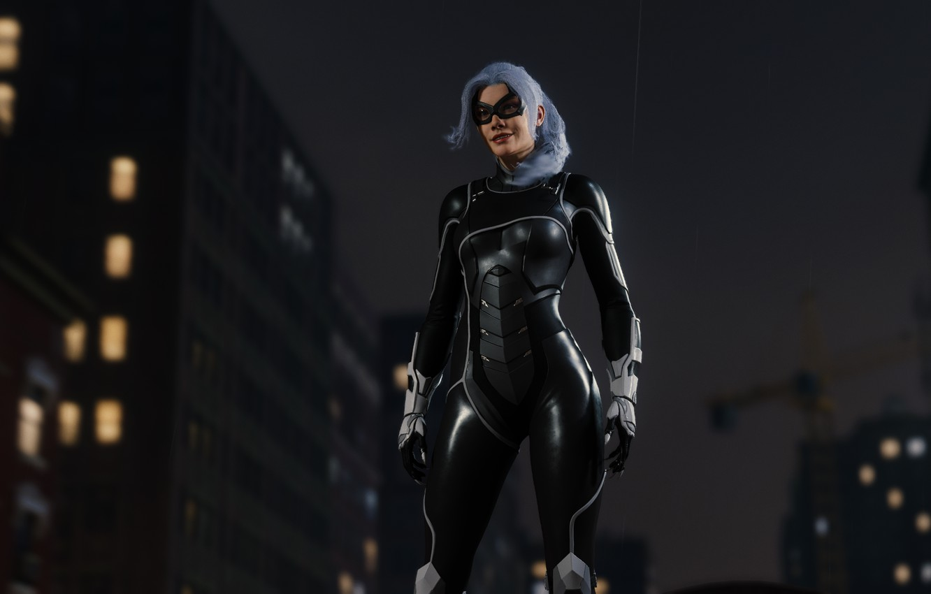 Photo wallpaper Sony, Marvel, suit, Spider-Man, Exclusive, PS4, Black Cat, Felicia Hardy, Insomniac Games