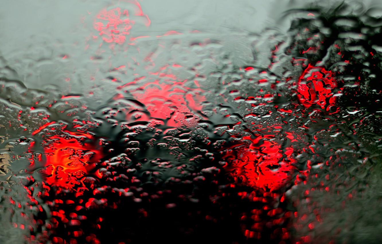 Photo wallpaper machine, glass, drops, rain, lights, blur