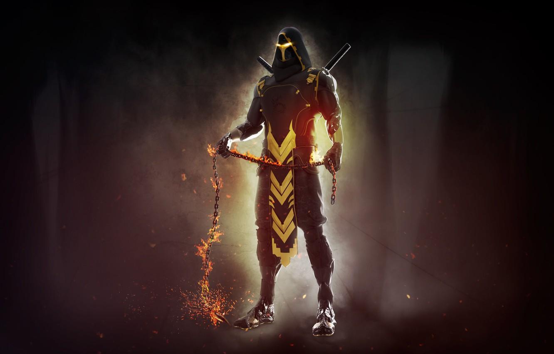 Photo wallpaper Mortal Kombat, Scorpion, Characters, Science Fiction, Mendez Cakson, Comic Art, by Mendez Cakson