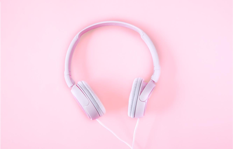 Photo wallpaper pink, minimalism, headphones, minimalism, pink, headphones, background