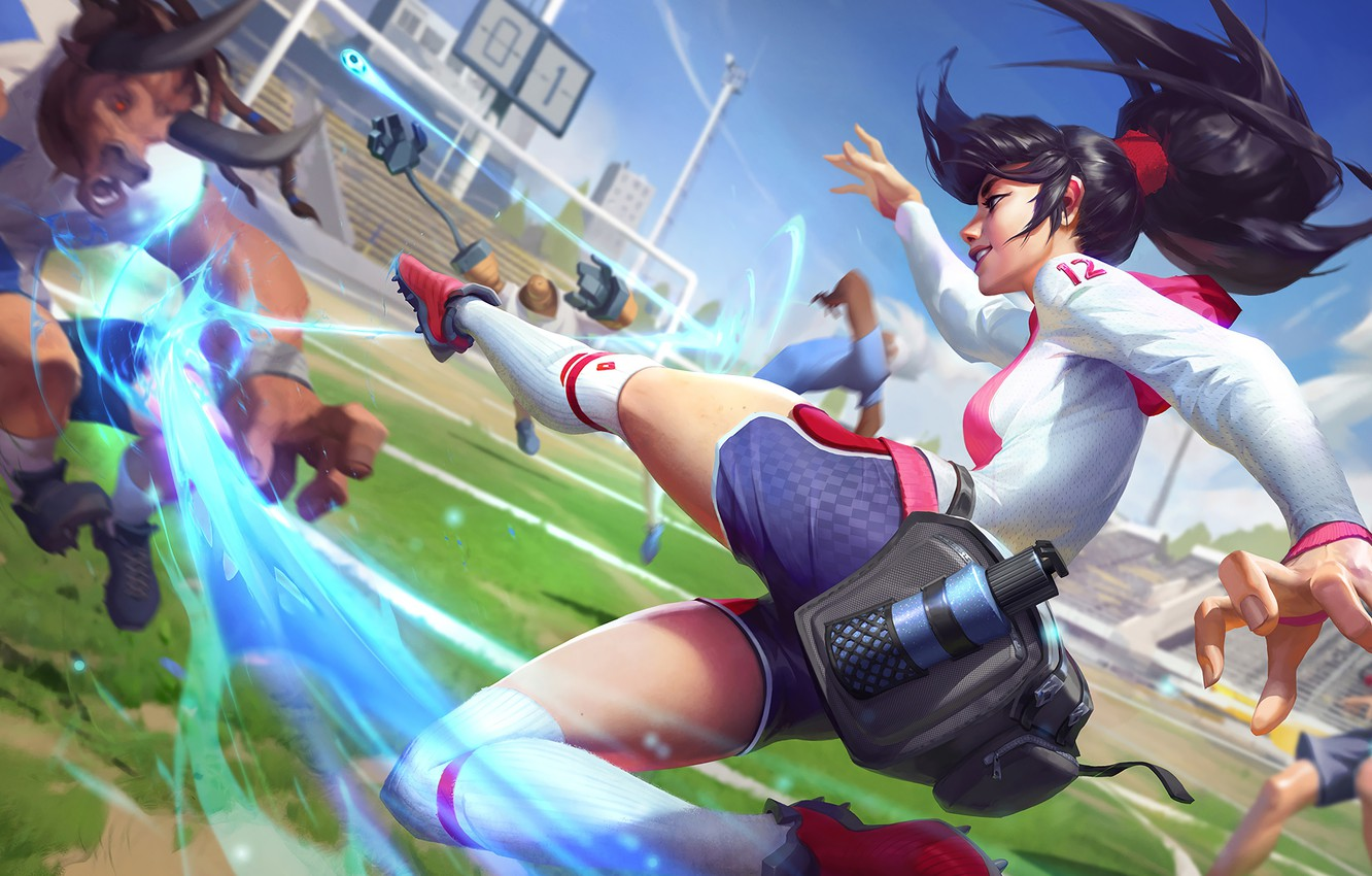 Photo wallpaper Gate, Football, Legs, Leg warmers, Art, Blow, All Star, Splash, Akali, League of Legends, LoL, …