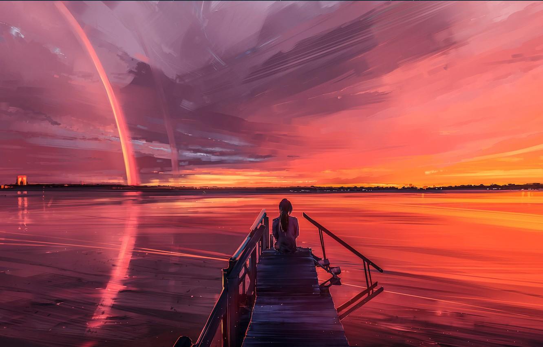 Photo wallpaper Sunset, The sky, Girl, Lake, River, Pierce, Fantasy, Art, Sunset, Concept Art, Characters, Alena Aenam ...