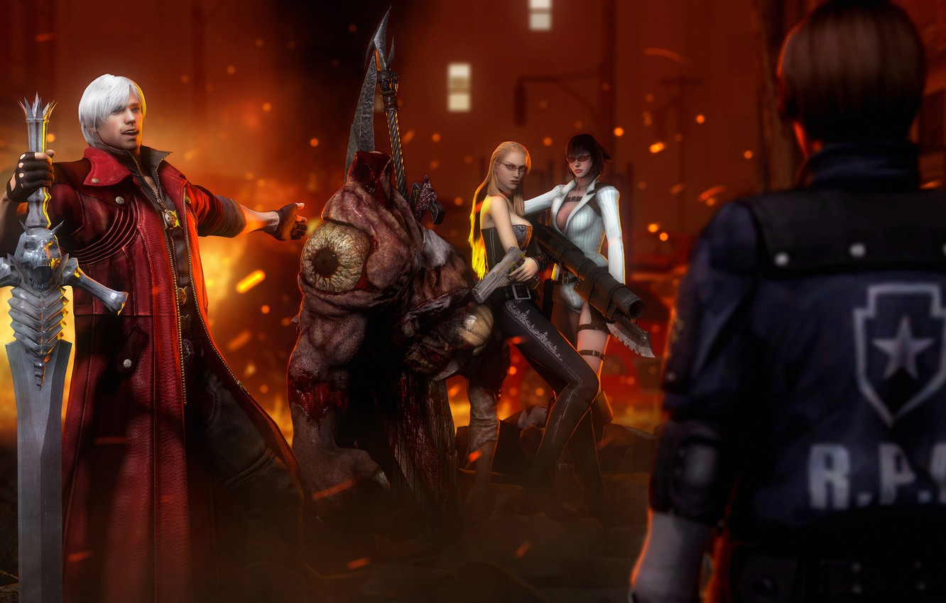 Wallpaper lady, dante, devil may cry 4, capcom, leon