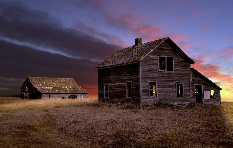 Photo wallpaper field, night, house