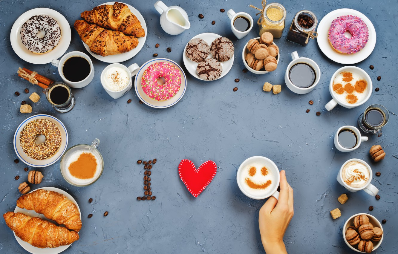 Photo wallpaper coffee, cookies, sweets, donuts, love, I love you, heart, cakes, cup, sweet, coffee, croissants, growing, …