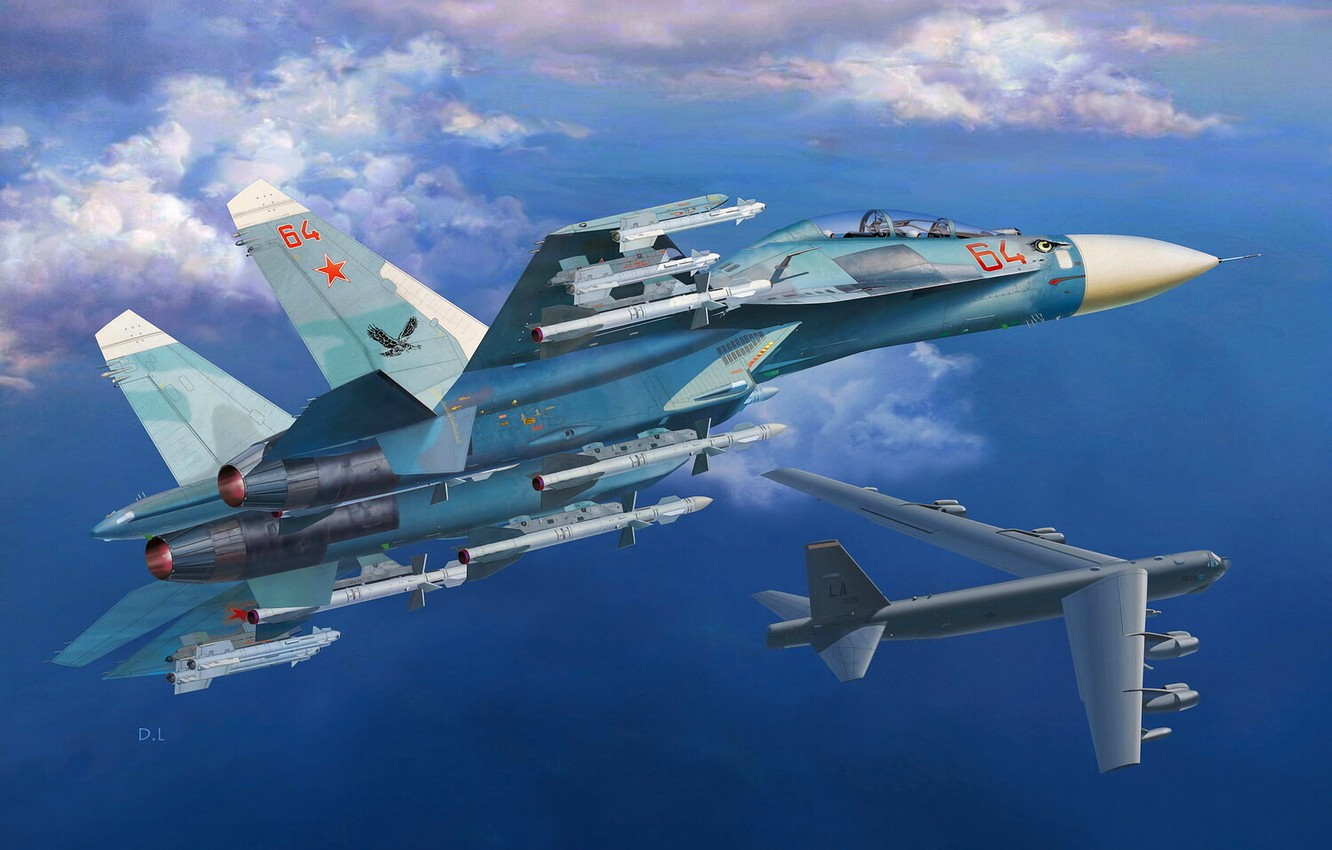 Wallpaper USAF, Su-27, Su-27UB, B-52 Stratofortress images for desktop, section авиация - download