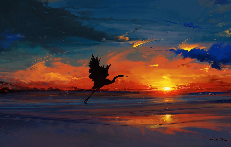 Photo wallpaper sky, sea, landscape, nature, bird, sunset, water, art, clouds, evening, sun, artist, digital art, artwork, …