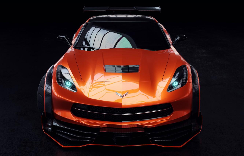 Photo wallpaper Auto, Corvette, Machine, Orange, Car, Rendering, Stingray, Corvette Stingray, The front, Sports car, Transport & …