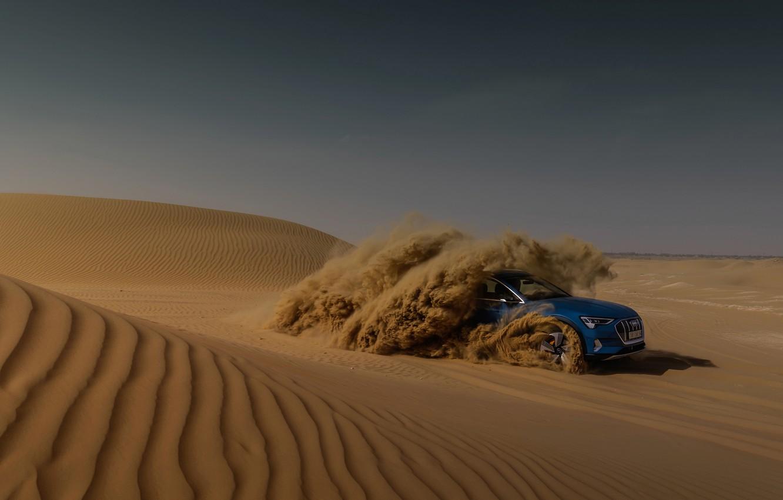 Photo wallpaper blue, Audi, desert, E-Tron, 2019