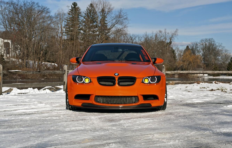 Photo wallpaper BMW, Orange, Front, E92, Sight