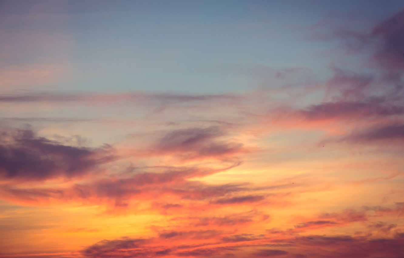 Photo wallpaper the sky, clouds, sunset, background, pink, colorful, sky, sunset, pink, beautiful
