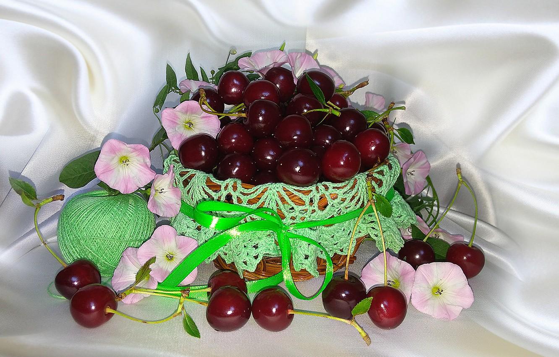 Photo wallpaper nature, cherry, mood, basket, beauty, still life, beautiful, beautiful, beauty, harmony, the Wallpapers, summer flowers, …