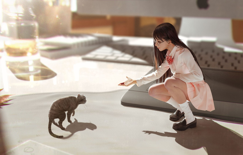 Photo wallpaper anime, art, girl, neko, care, kitty, Rui Li, In my dreams you're still with me