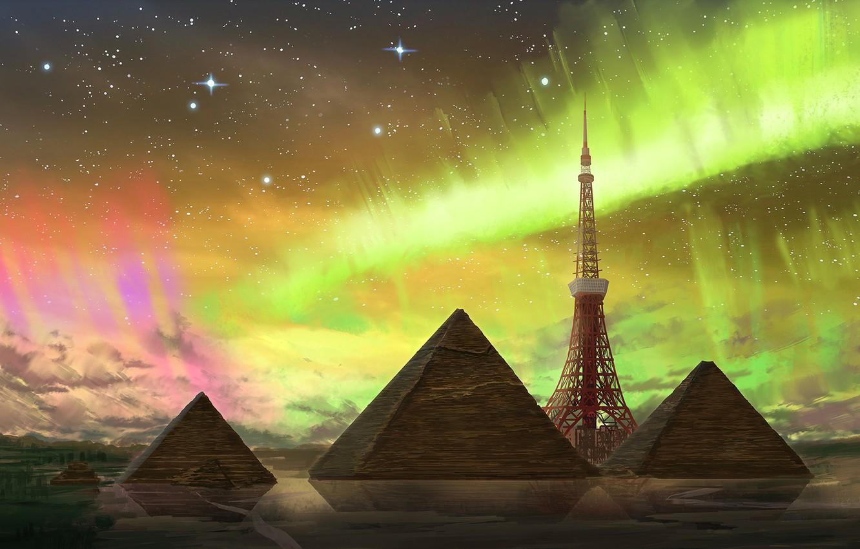 Photo wallpaper Northern lights, fantasy, pyramid, Tokyo tower