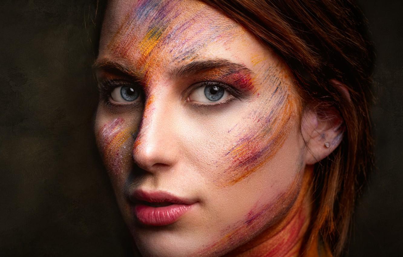Photo wallpaper paint, portrait, makeup, Alfonso Novillo