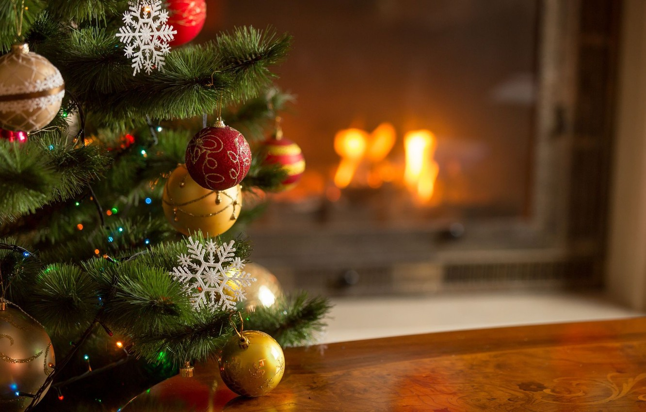 Photo wallpaper heat, toys, tree, New Year, Christmas, fireplace, cozy