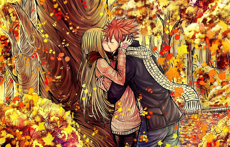 Photo wallpaper autumn, romance, anime, pair, Fairy Tail, Fairy tail