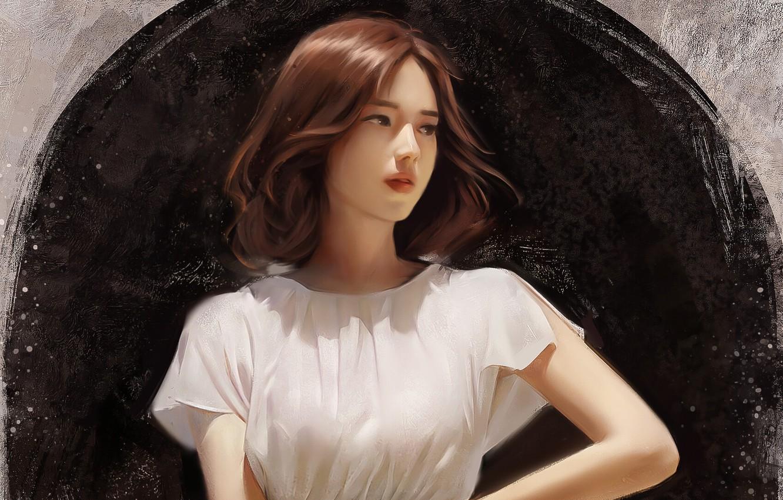 Photo wallpaper girl, Asian, painting