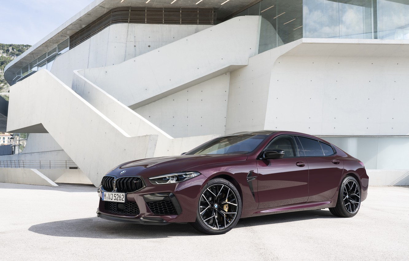Photo wallpaper coupe, BMW, 2019, M8, the four-door, near the building, M8 Gran Coupe, M8 Competition Gran …