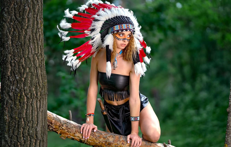 Photo wallpaper girl, pose, tree, feathers, paint, roach, Vyacheslav Turcan, Evgeniya Ivanova