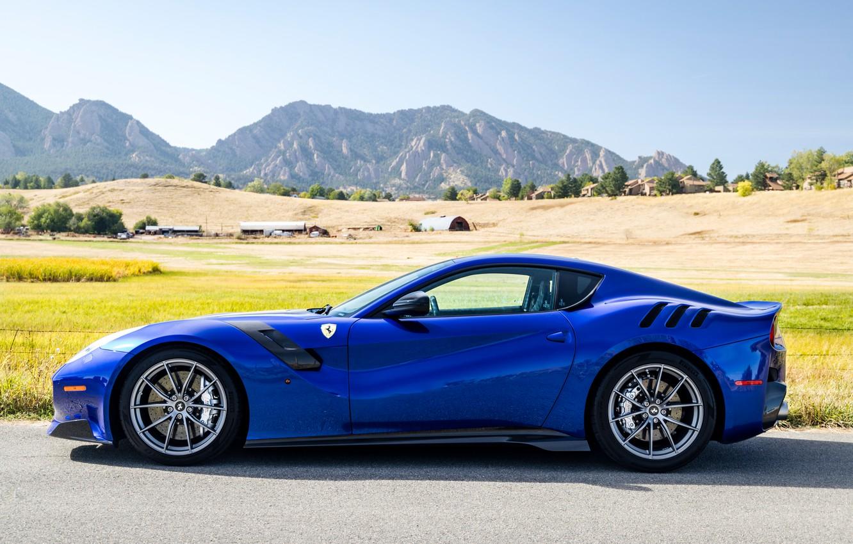 Photo wallpaper blue, sports car, side view, Gran Turismo, Ferrari F12 TDF