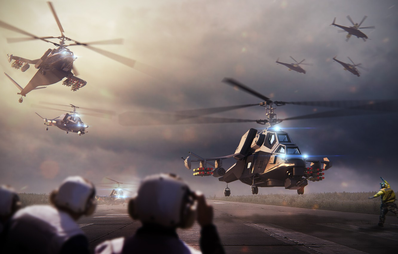 Wallpaper Future People Helicopter Strip Army Military