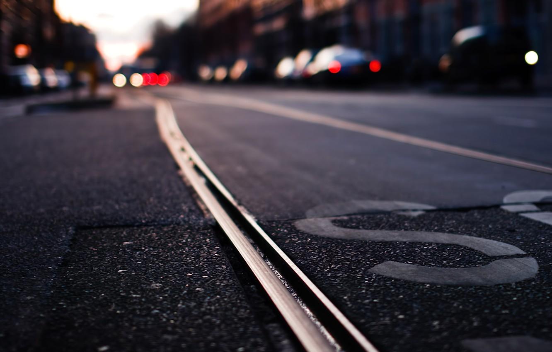 Photo wallpaper Cars, Urban, Sunset, Lights, Street, Photography, Bokeh, Blur, Blurred, Tram line