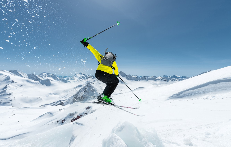 Photo wallpaper photo, Winter, Snow, Sport, Jump, Skiing