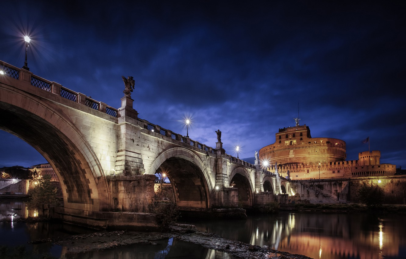 Photo wallpaper night, clouds, bridge, the city, river, stones, lighting, Rome, lights, Italy, the mausoleum, The Tiber, …