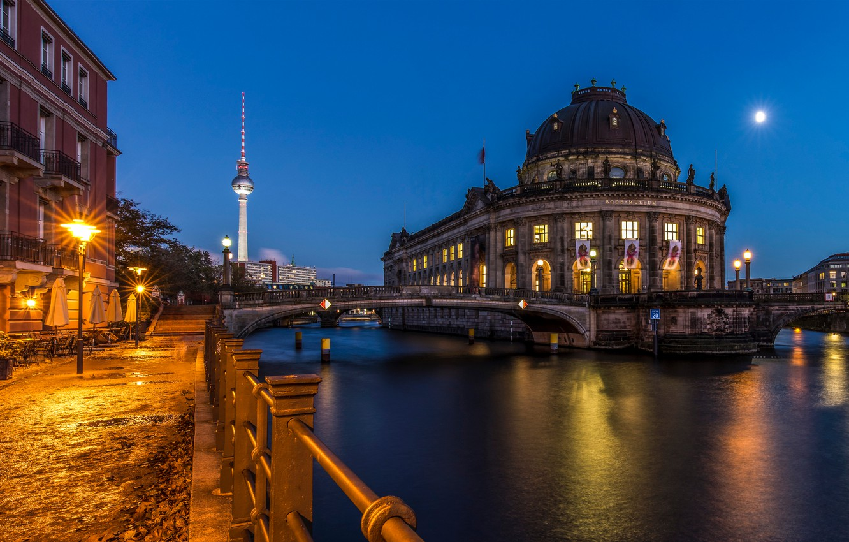 Photo wallpaper lights, the evening, Germany, Berlin