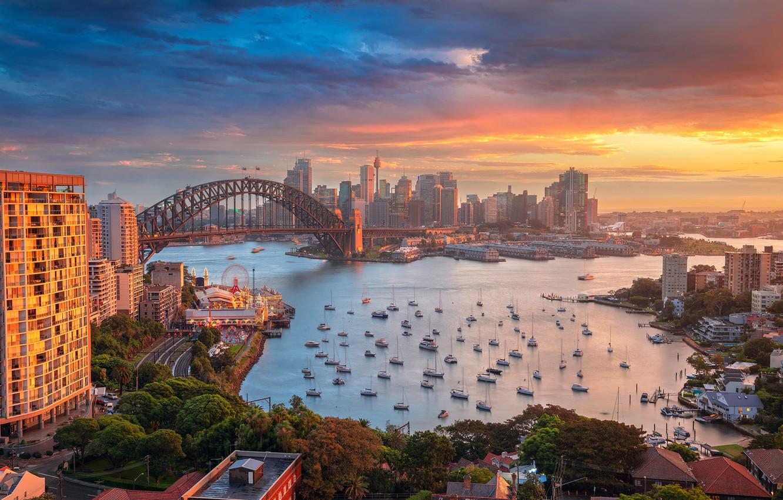 Photo wallpaper sunset, bridge, building, home, yachts, Australia, Bay,