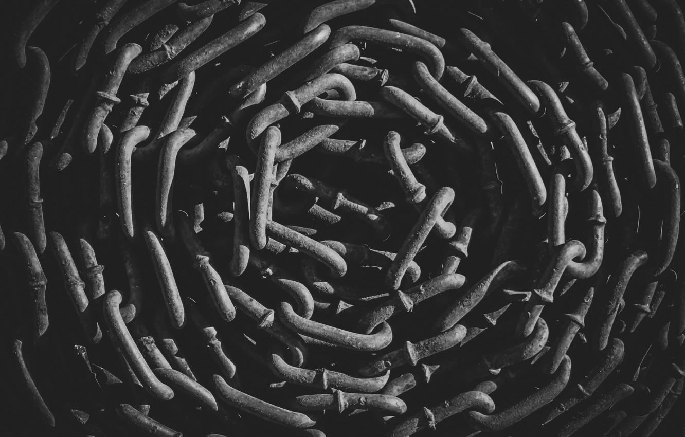 Photo wallpaper Chain, black background, link