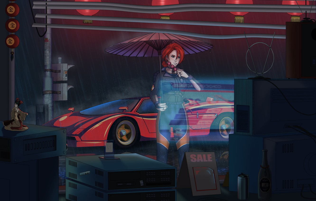 Photo wallpaper Girl, Auto, Machine, Style, Umbrella, TV, Technique, Style, Illustration, 80's, Synth, Retrowave, Synthwave, New Retro …