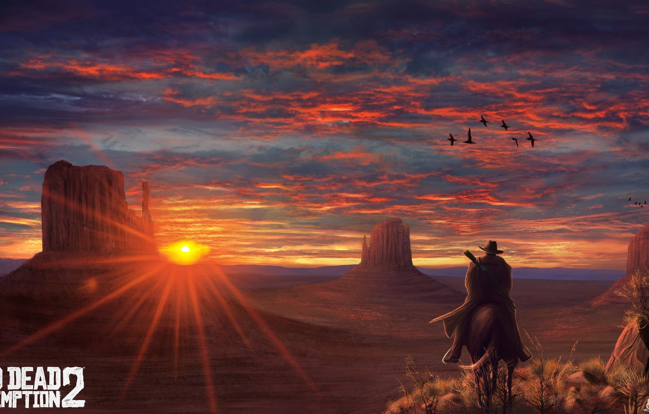 Photo wallpaper Sunset, The game, Art, Rockstar, Concept Art, Cowboy, Western, Game Art, Red Dead Redemption 2, …