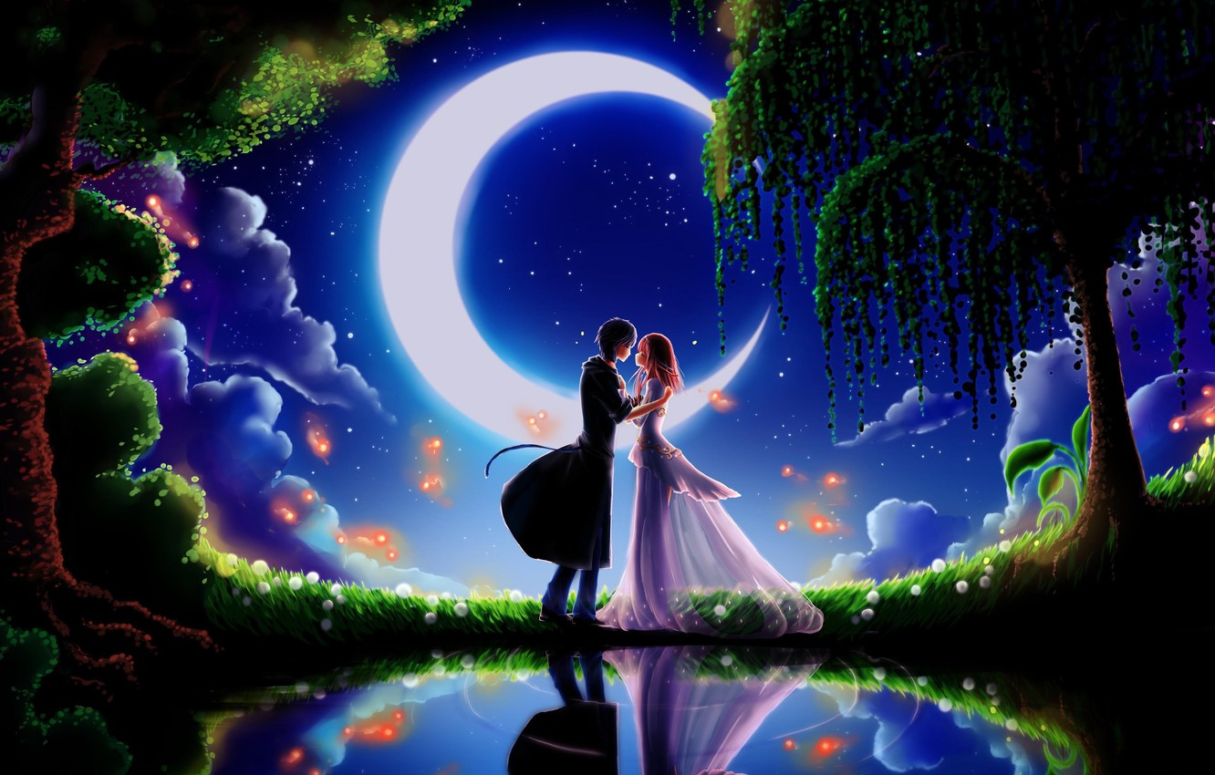 Photo wallpaper the sky, dream, girl, stars, trees, night, green grass, meeting, a month, Prince, guy, lovers, …